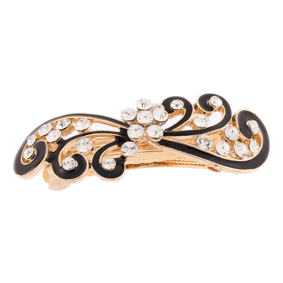 Women Plastic Rhinestones Inlaid Black Floral Accent French Barrette Style Metal Hair Clip Hairpin Decor Gold Tone