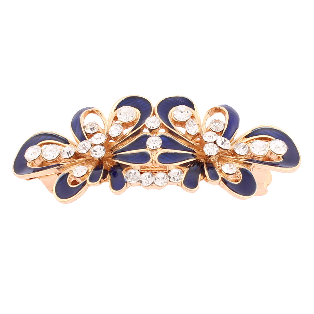 Women Plastic Rhinestone Inlaid Flower Design French Barrette Style Metal Hair Clip Hairpin Gold Tone Blue