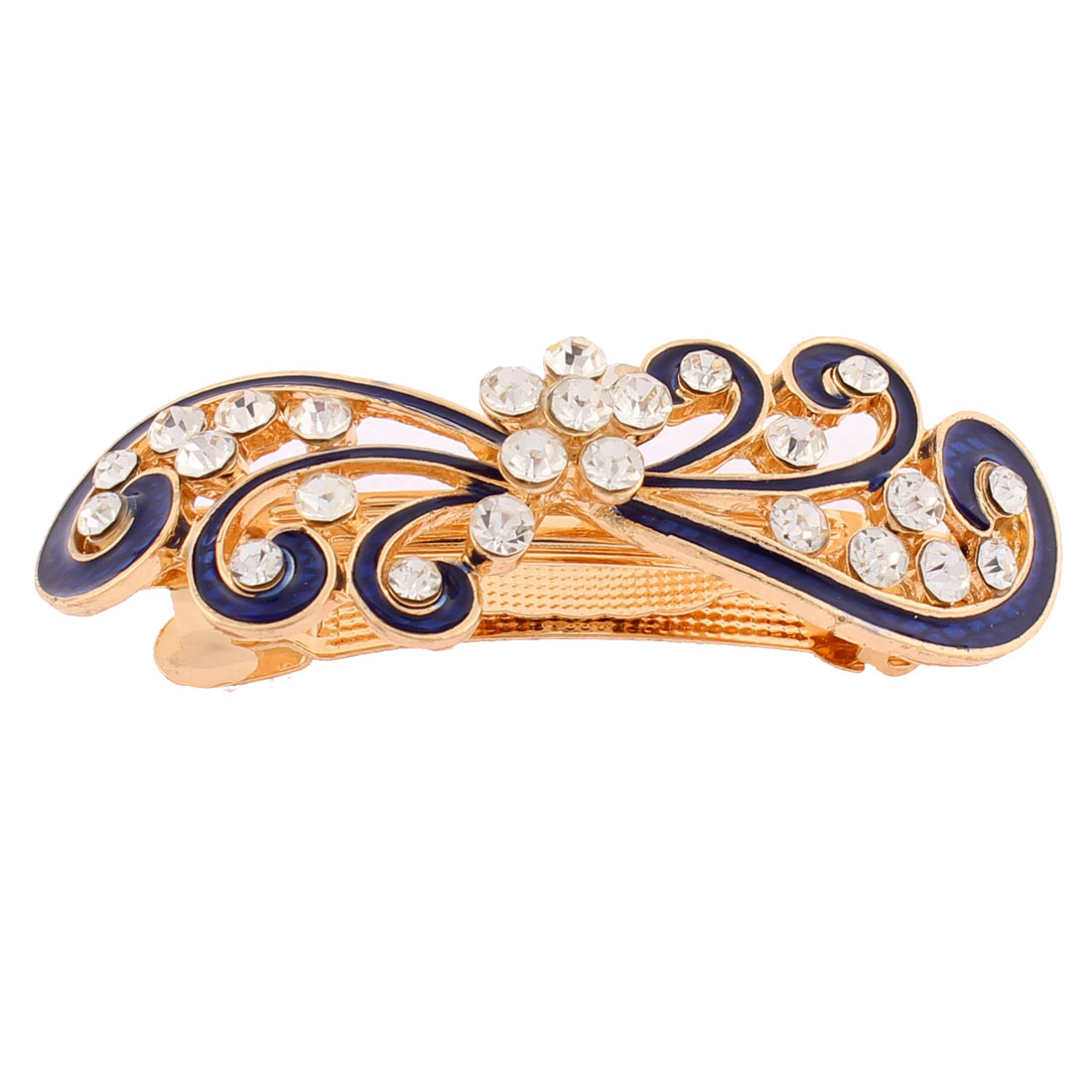 Women Plastic Rhinestones Inlaid Blue Floral Accent French Barrette Style Metal Hair Clip Hairpin Decor Gold Tone