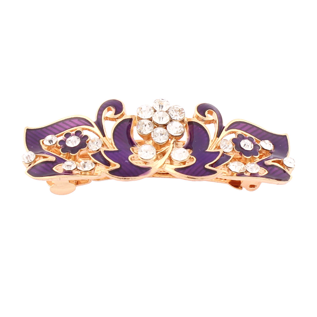 Women Plastic Rhinestone Inlaid Flower Accent French Barrette Style Metal Hair Clip Hairpin Gold Tone Purple