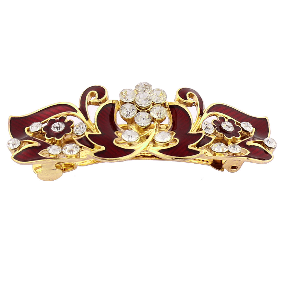 Women Plastic Rhinestone Inlaid Flower Accent French Barrette Style Metal Hair Clip Hairpin Gold Tone Red
