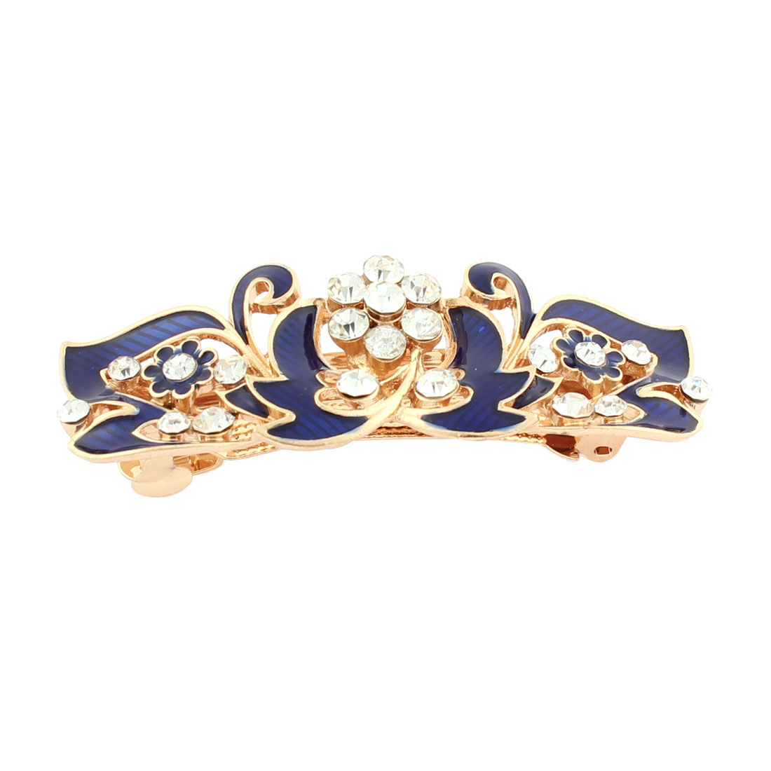 Women Plastic Rhinestone Inlaid Flower Accent French Barrette Style Metal Hair Clip Hairpin Gold Tone Blue