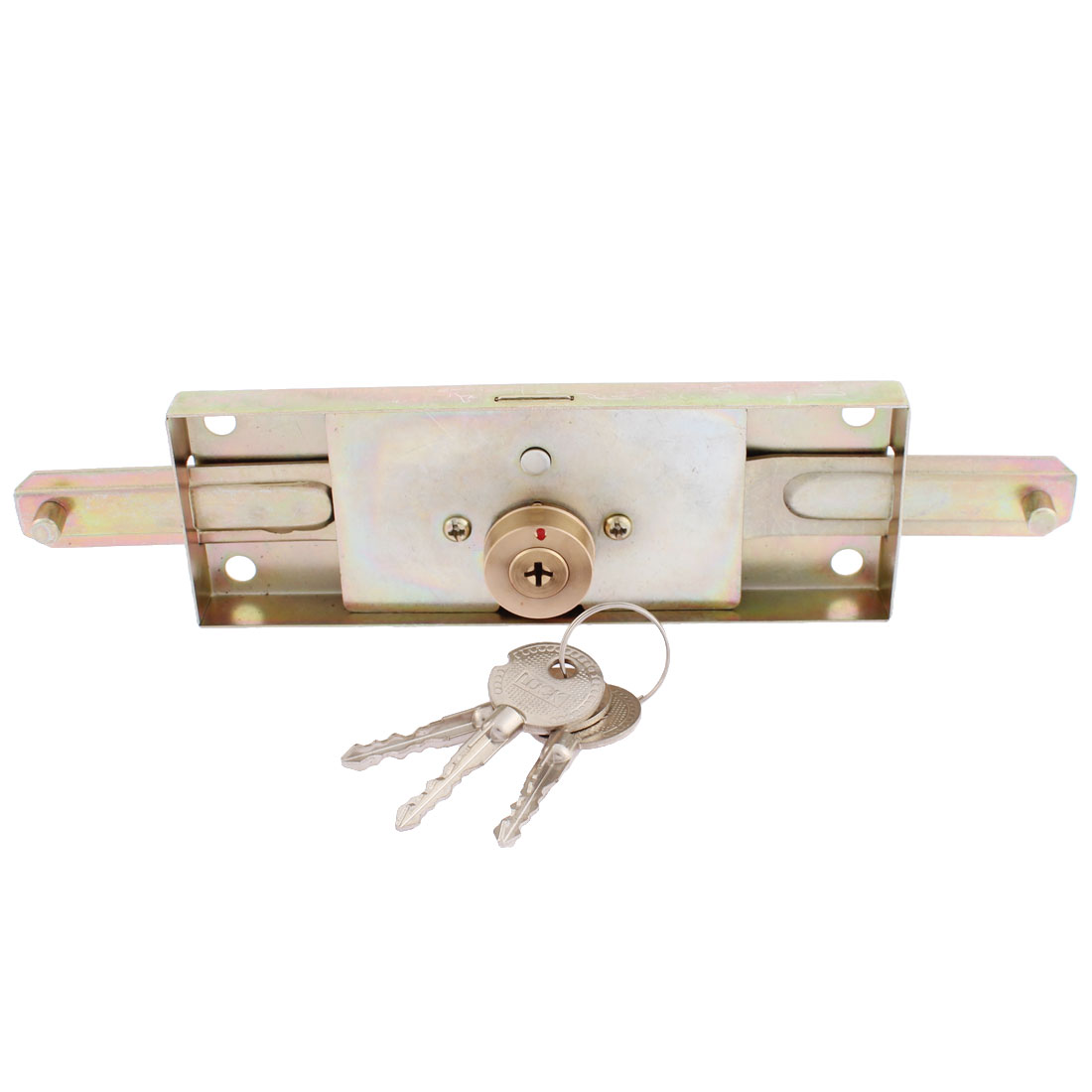Warehouse Garage Head Cylinder Cross Type Keyway Metallic Center Rolling Shutter Door Lock w 3 Keys Brass Tone