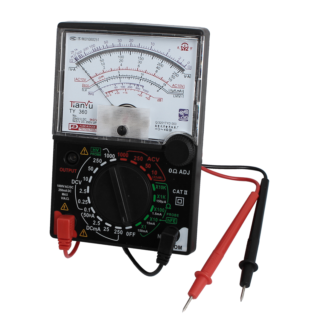 TY-360 Battery Powered Current AC/DC Voltage Resistance Test Analog Multitester w Leads