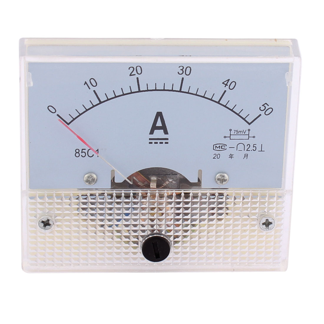 Class 2.5 Accuracy DC 0-50A Rectangle Panel Meter Tester Gauge Current Analogue Analog Ammeter 85LC1-AV White
