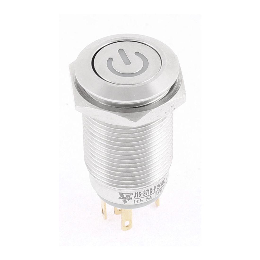 16mm DC 24V Car Angel Eye Green Led Lighted Metal Self-locking Switch Latching 1NO1NC SPDT ON/OFF Push Button Switch Silver Tone