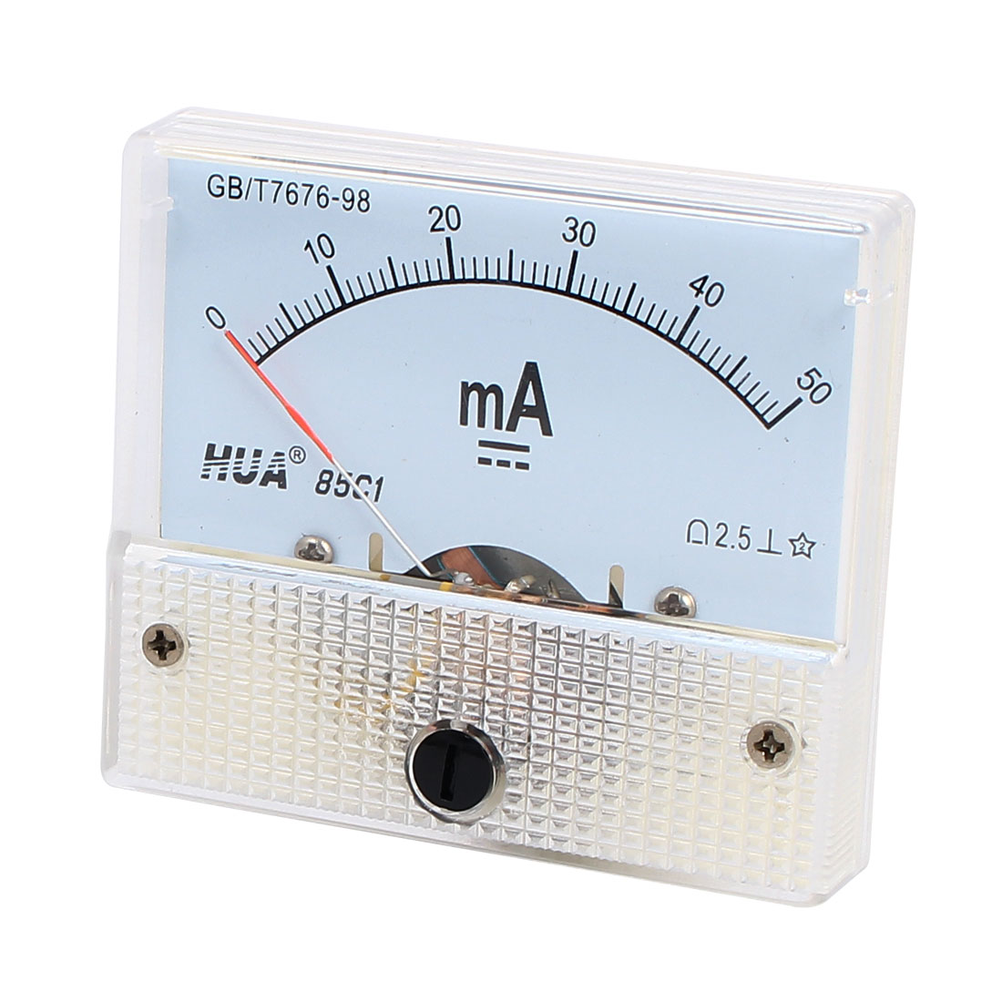 85C1 DC 0-50mA Class 2.5 Accuracy Rectangle Shaped Vertical Mounted Analog Ammeter Ampere Meter