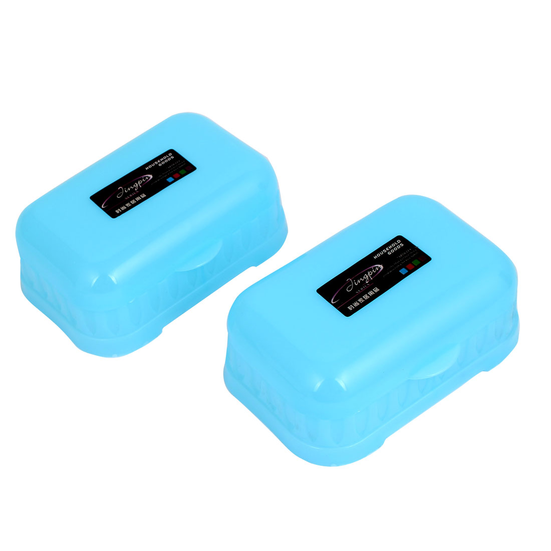 2 Pcs Sky Blue Plastic Rectangular Shape Hollow Out Bottom Soap Holders Containers Boxes Cases