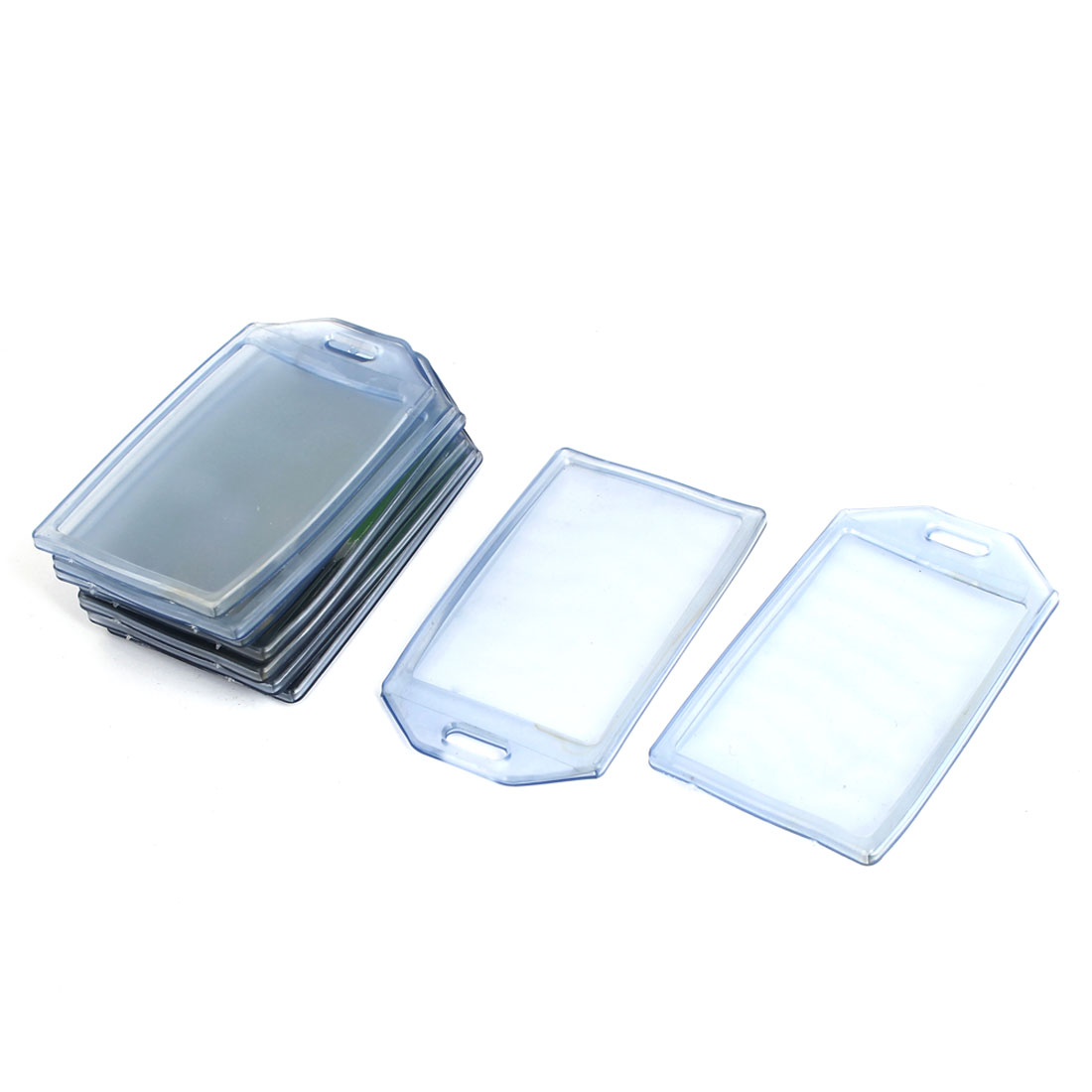 85mmx54mm Vertical Clear Blue Plastic Work Exhibition ID Card Badge Holder 9 Pcs