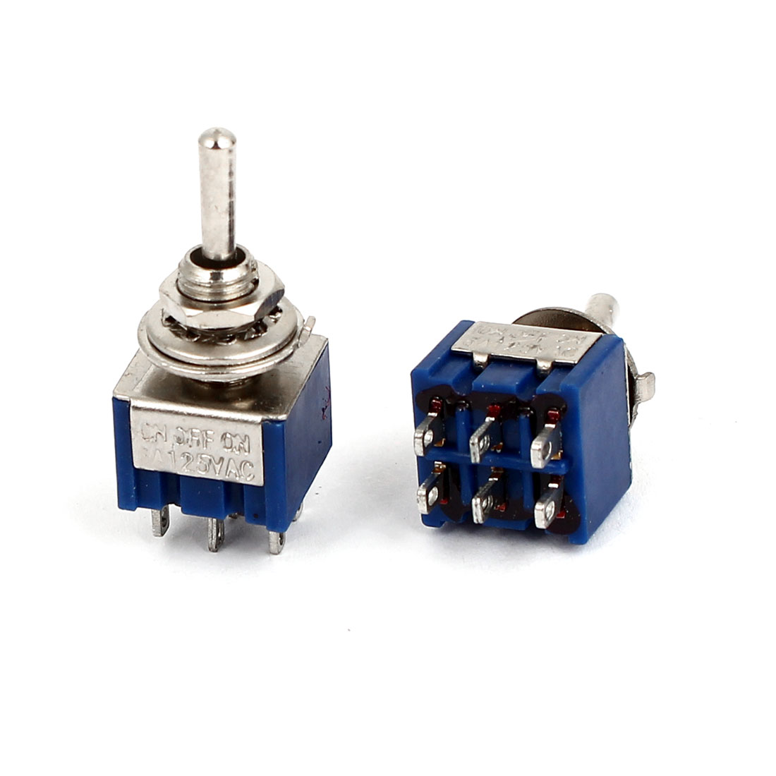 2pcs AC 125V 6A 6Pin 3 Positions ON-OFF 6mm Thread DPDT Latching Mini Toggle Switch Blue