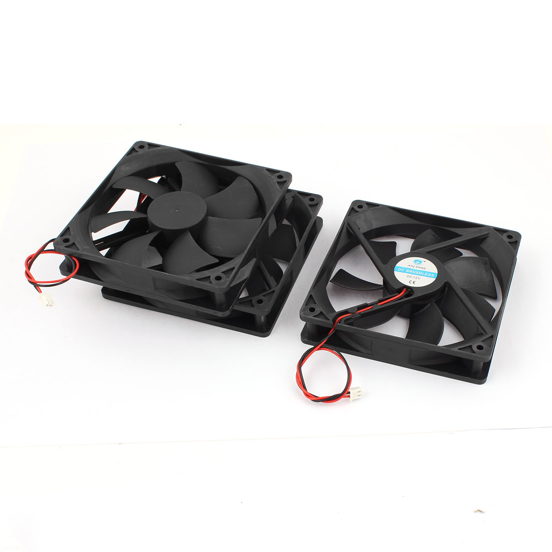 3pcs 12cmx12cmx2.5cm Black Plastic DC 12V 2 Terminal Connector PC CPU Desktop Cooling Cooler Fan