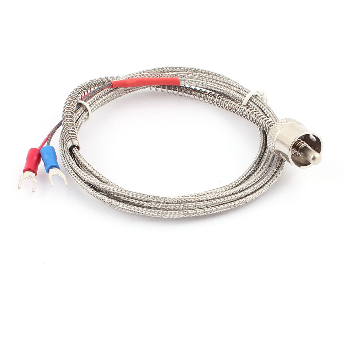 2M 6.6Ft Long 0-700C K Type Adjustable Tension Spring Wire Lead Temperature Control Thermocouple Probe