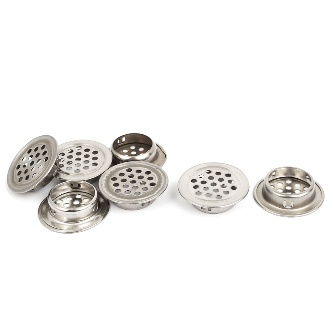 7pcs 34mm Dia Silver Tone Metal Round Mesh Hole Shoes Cabinet Air Vent Louver Cover