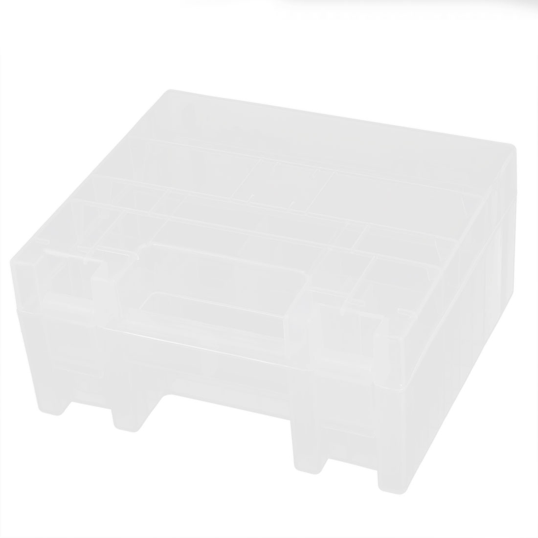Clear Plastic Rectangle Battery Batteries Storage Box Container Holder w Handle