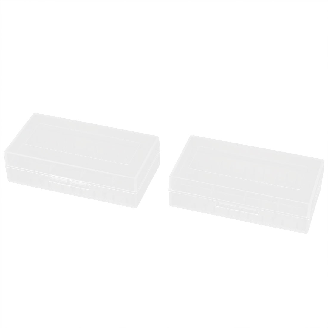 2pcs Clear Plastic Rectangle Storage Box Case Container Holder for 2 x 18650 Battery