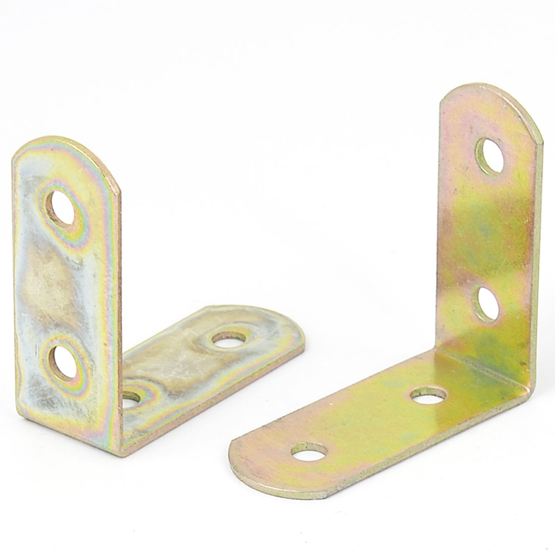 Metal L Shape 4 Hole Round End 90 Degree Corner Brace Angle Brackets 46mm 2pcs