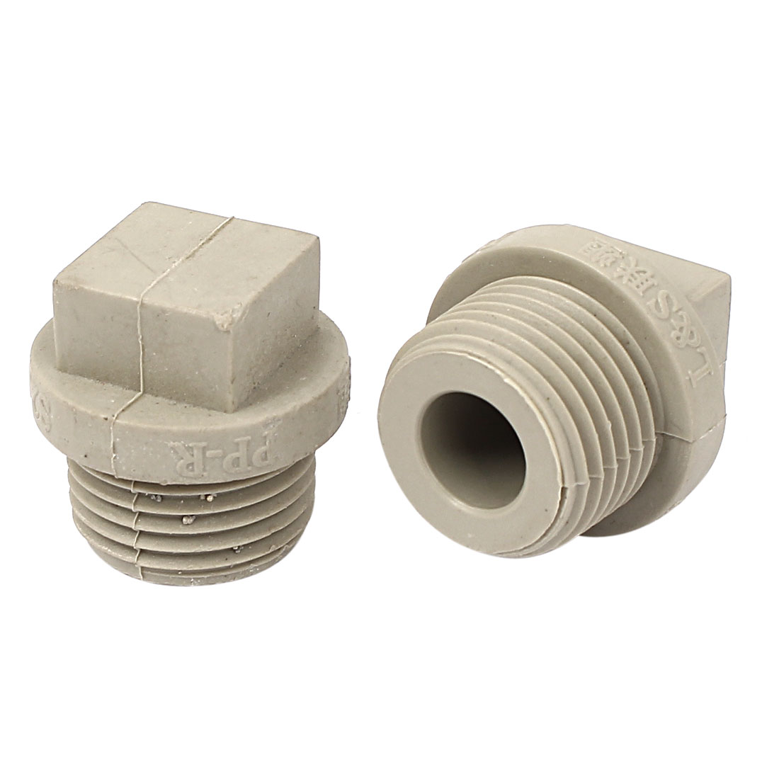 1/2BSP Male Thread PPR Square Head Pipe Fitting Connectors Gray 2pcs
