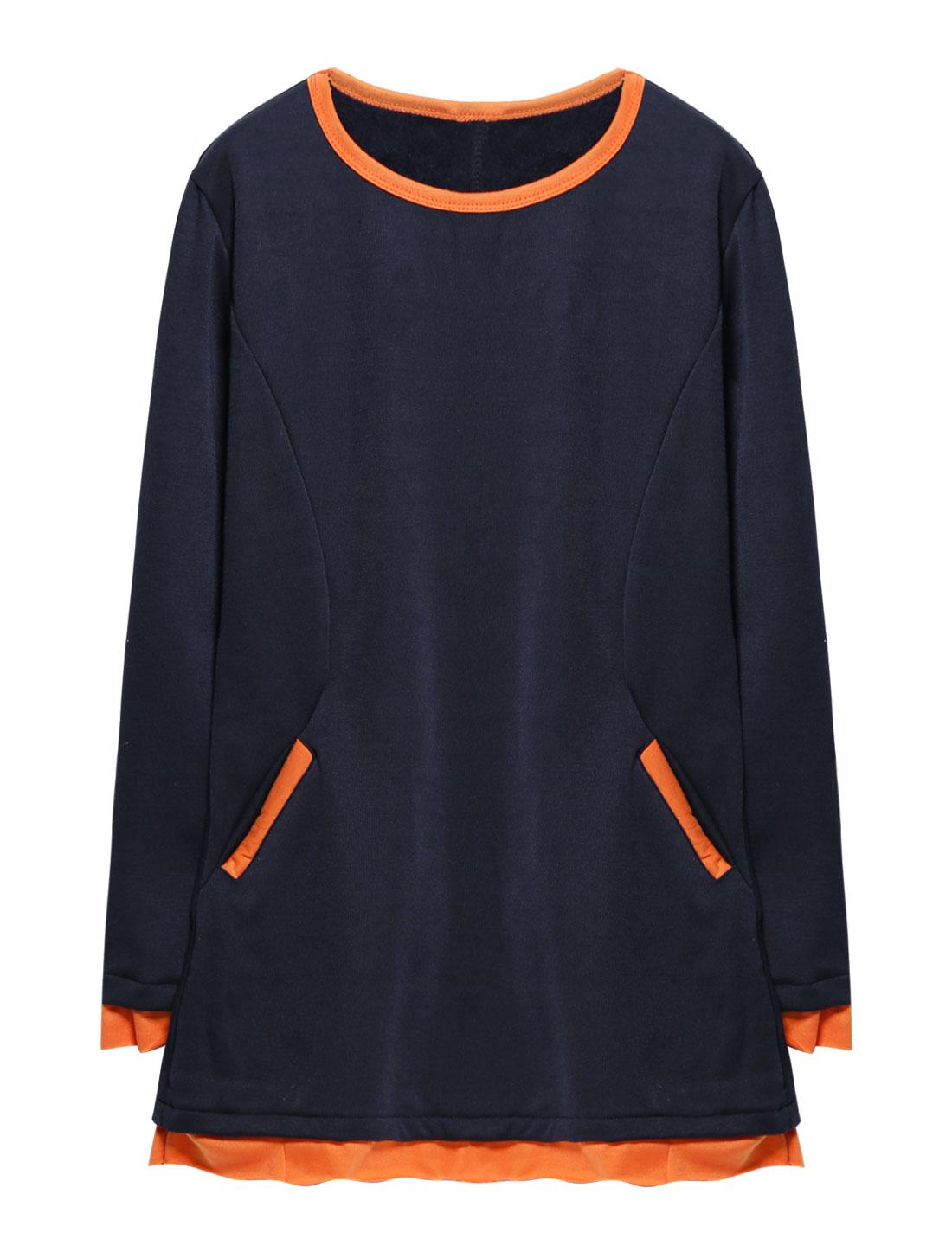 Woman Long Sleeves Layered Soft Lining Tunic Blue XS