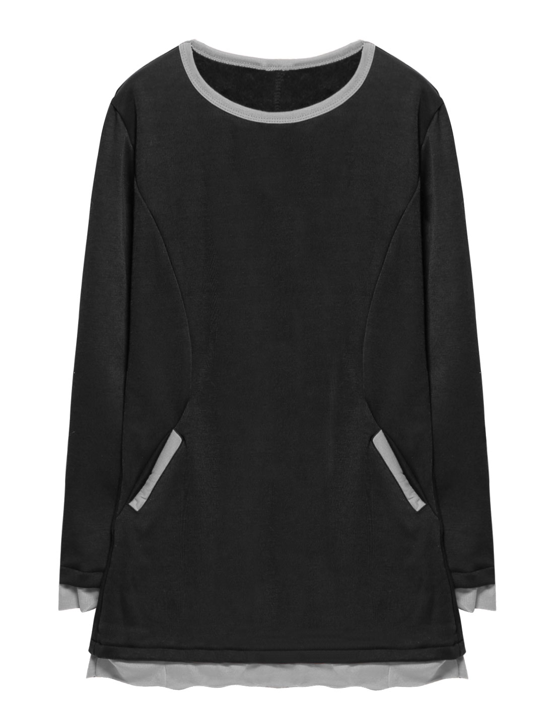 Woman Long Sleeves Layered Soft Lining Tunic Top Black XS