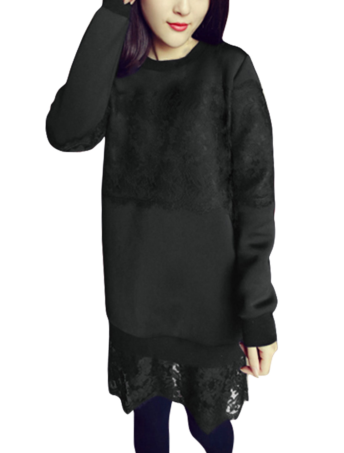 Ladies Soft Lining Flower Lace Tunic Sweatshirt Black S
