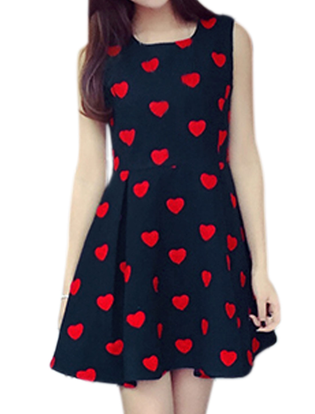 Woman Sleeveless Hearts Stitching Worsted A Line Dress Blue XS