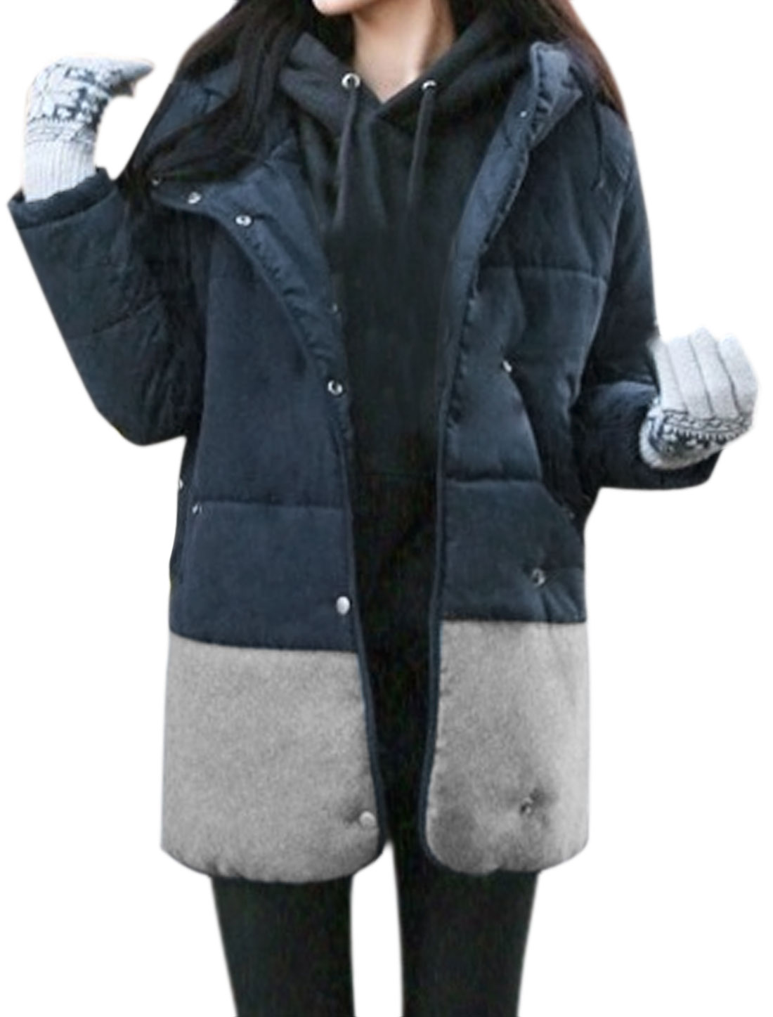 Women Color Block Hooded Paneled Tunic Padded Coat Blue XS