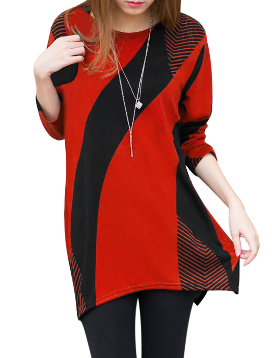 Woman Color Block Geometric Asymmetric Tunic Knit Shirt Red XS