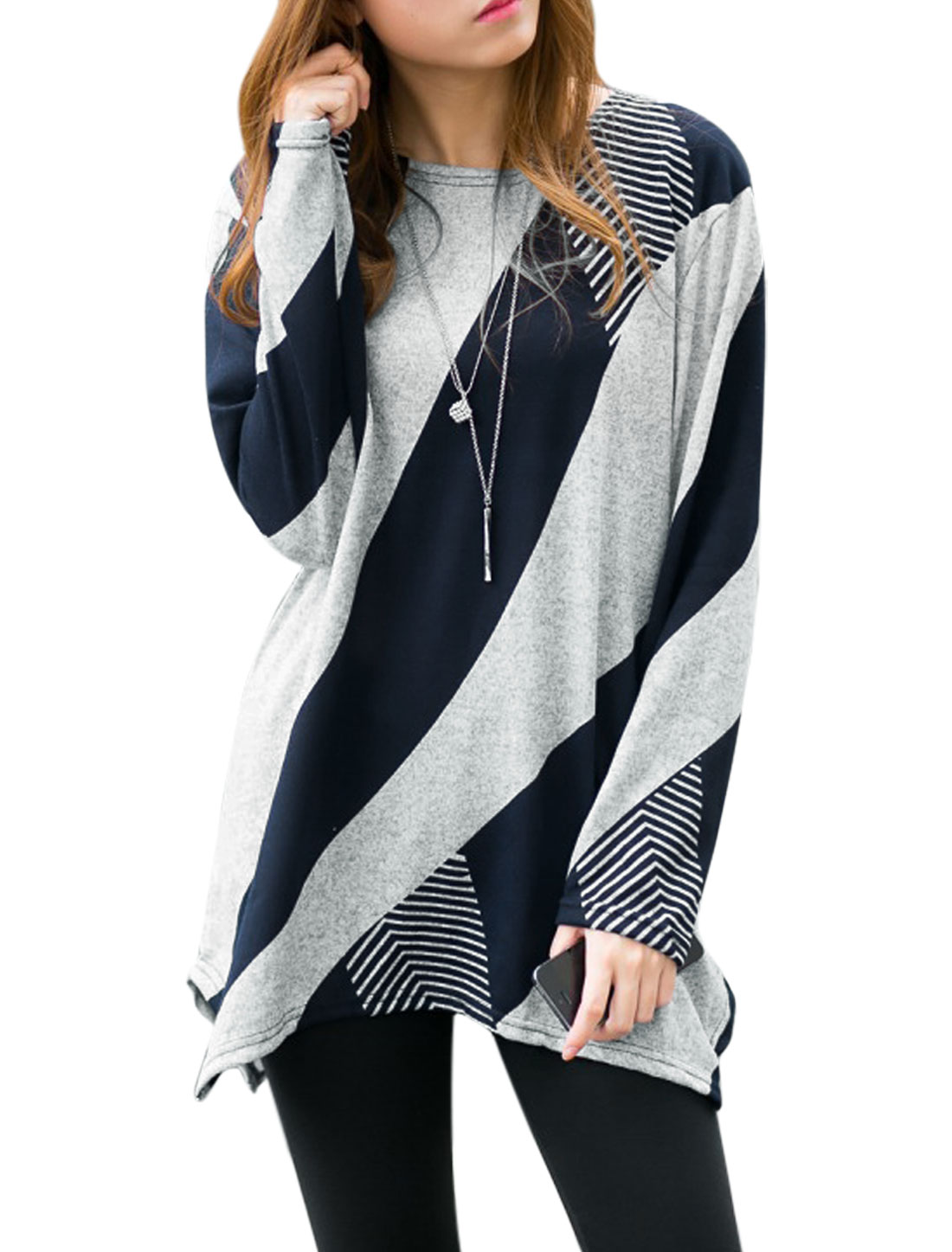 Woman Color Block Geometric Asymmetric Tunic Knit Shirt Blue XS