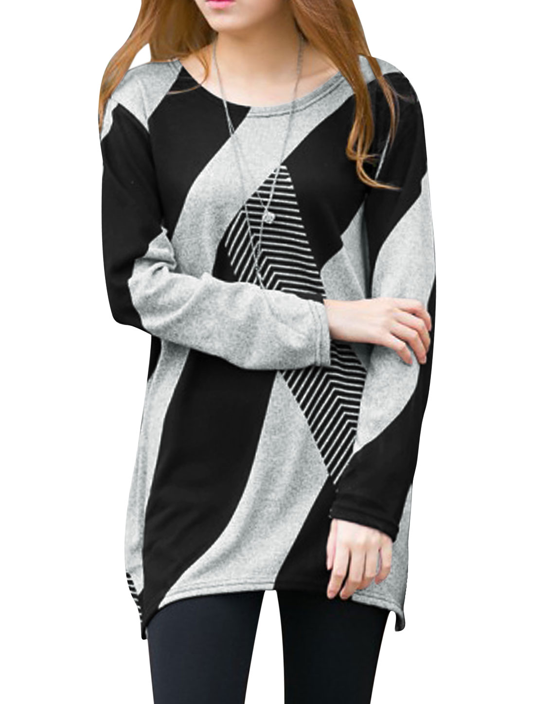 Woman Color Block Geometric Asymmetric Tunic Knit Shirt Black XS