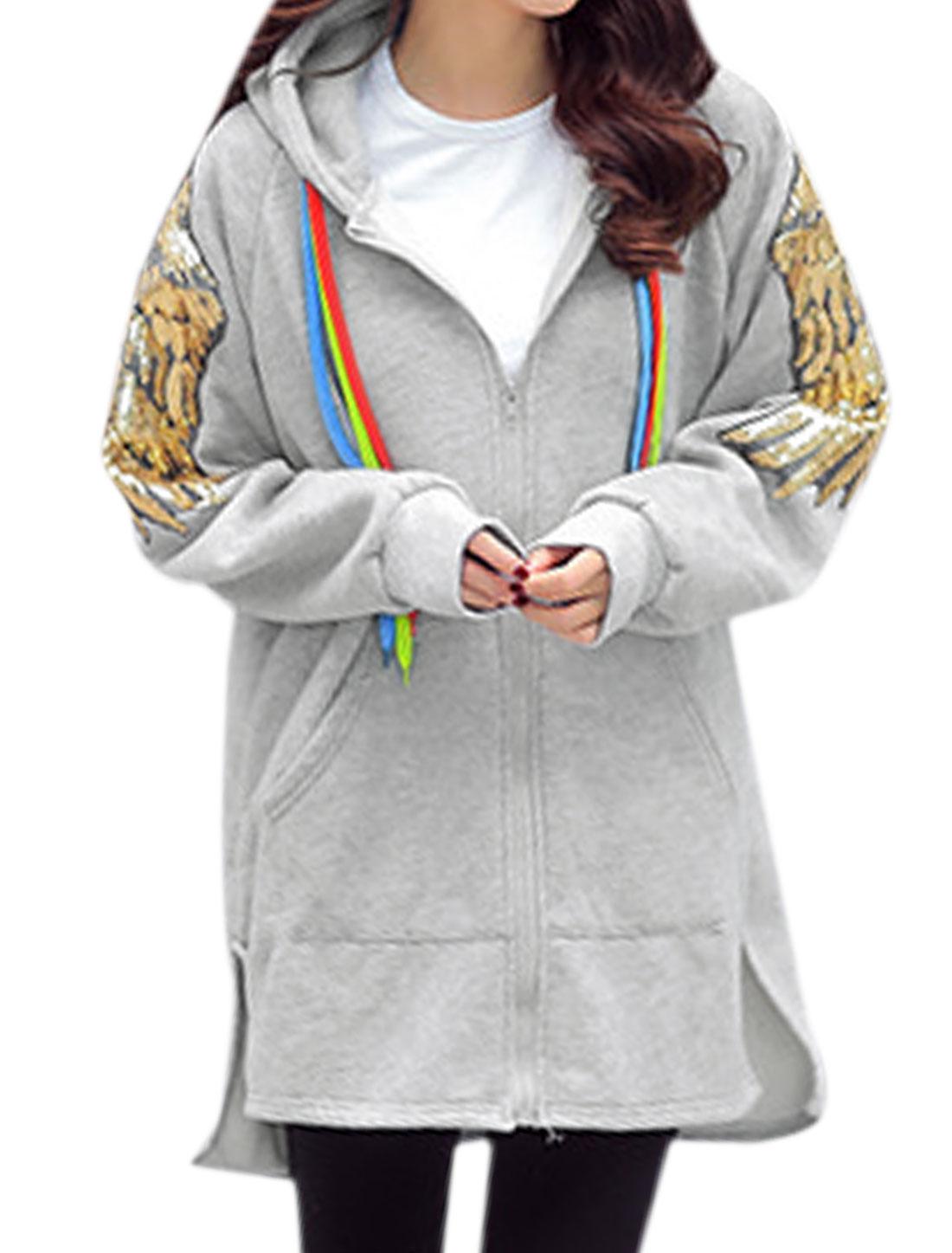 Woman Sequined Wings Kangaroo Pockets Loose Tunic Hoodie Gray S