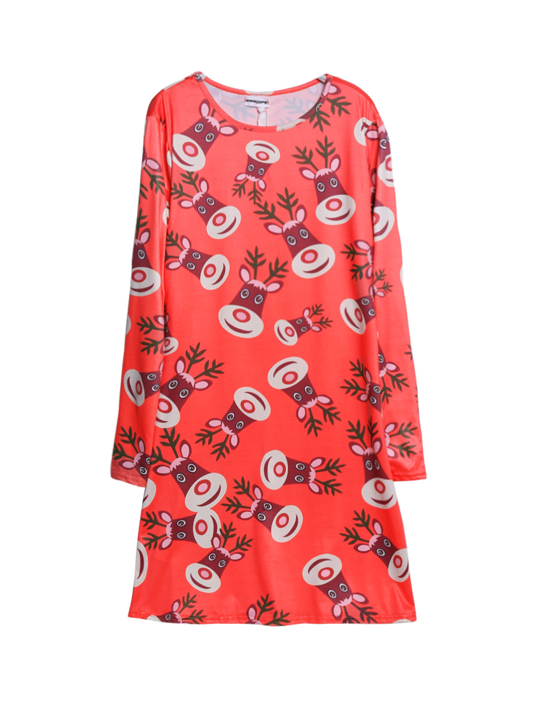 Women Crew Neck Long Sleeves Moose Tunic Dress Red M