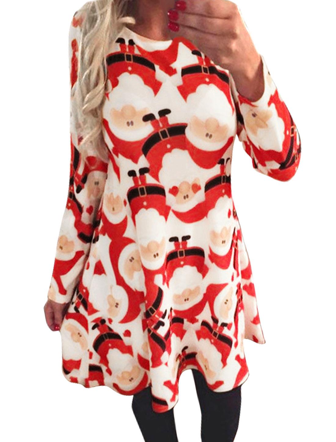 Ladies Long Sleeves Santa Claus Tunic Dress Red XS