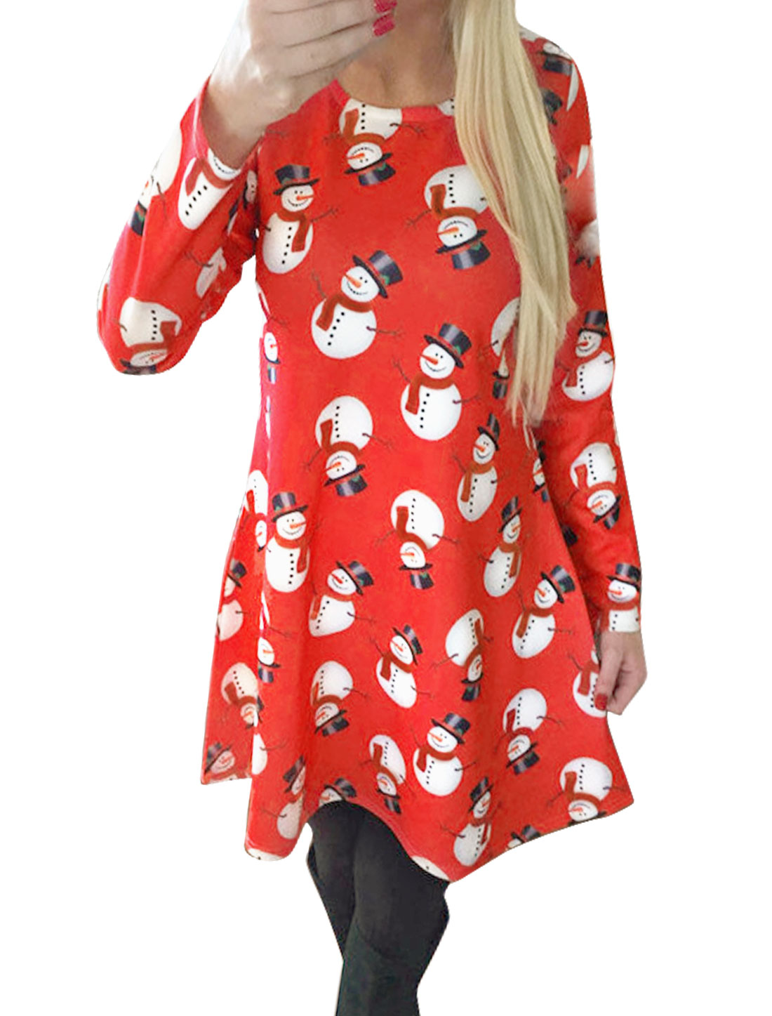 Ladies Crew Neck Snowman Tunic Skater Dress Red M
