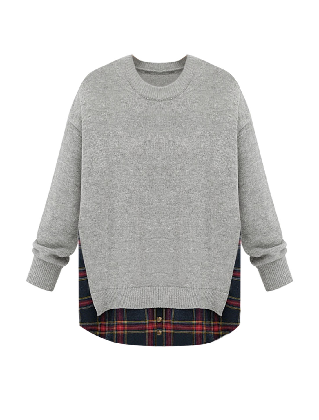 Woman Crew Neck Plaids Shirttail Layered Knit Shirt Gray XS