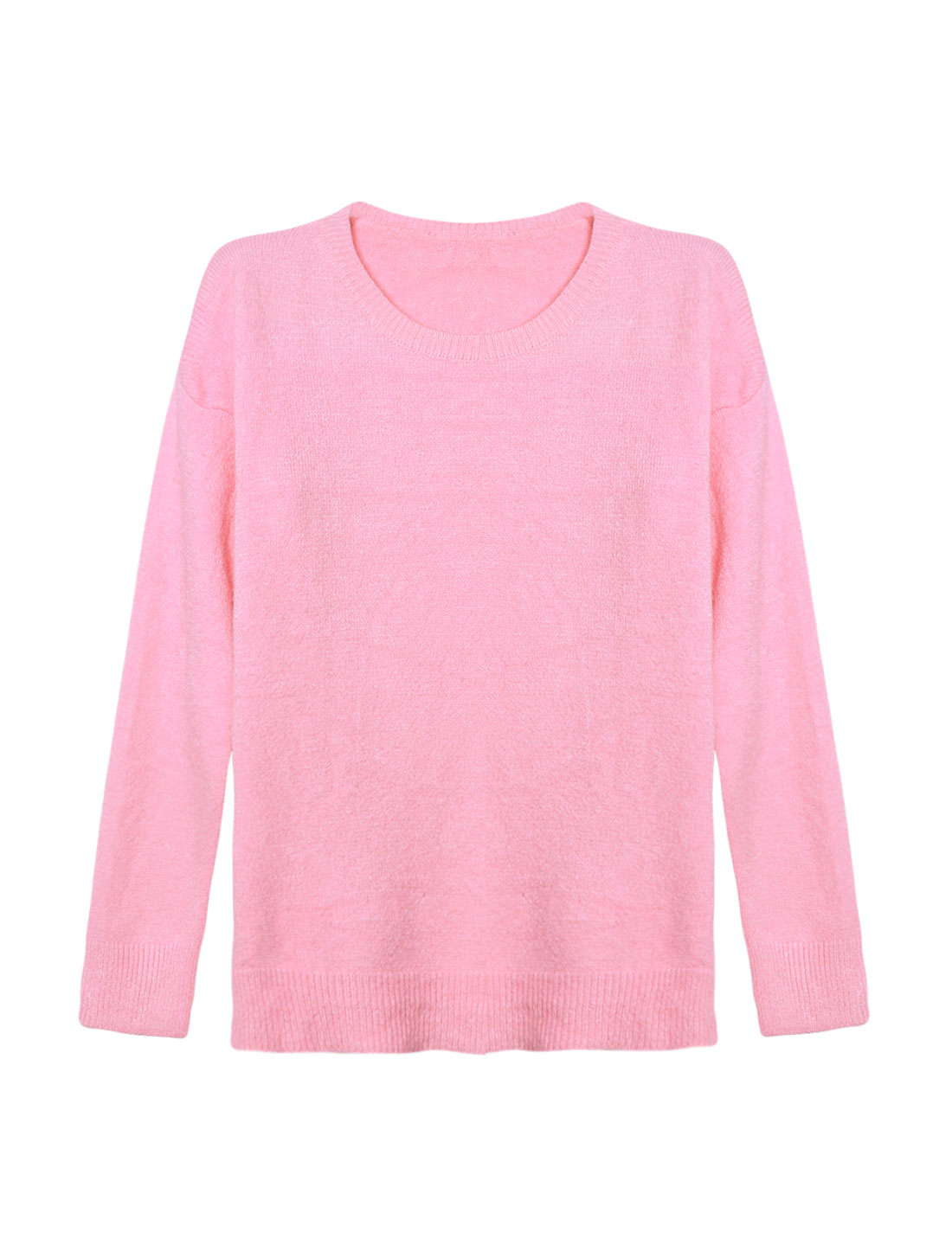 Woman Crew Neck Dolman Sleeves Ribbed Trim Knit Shirt Pink XS