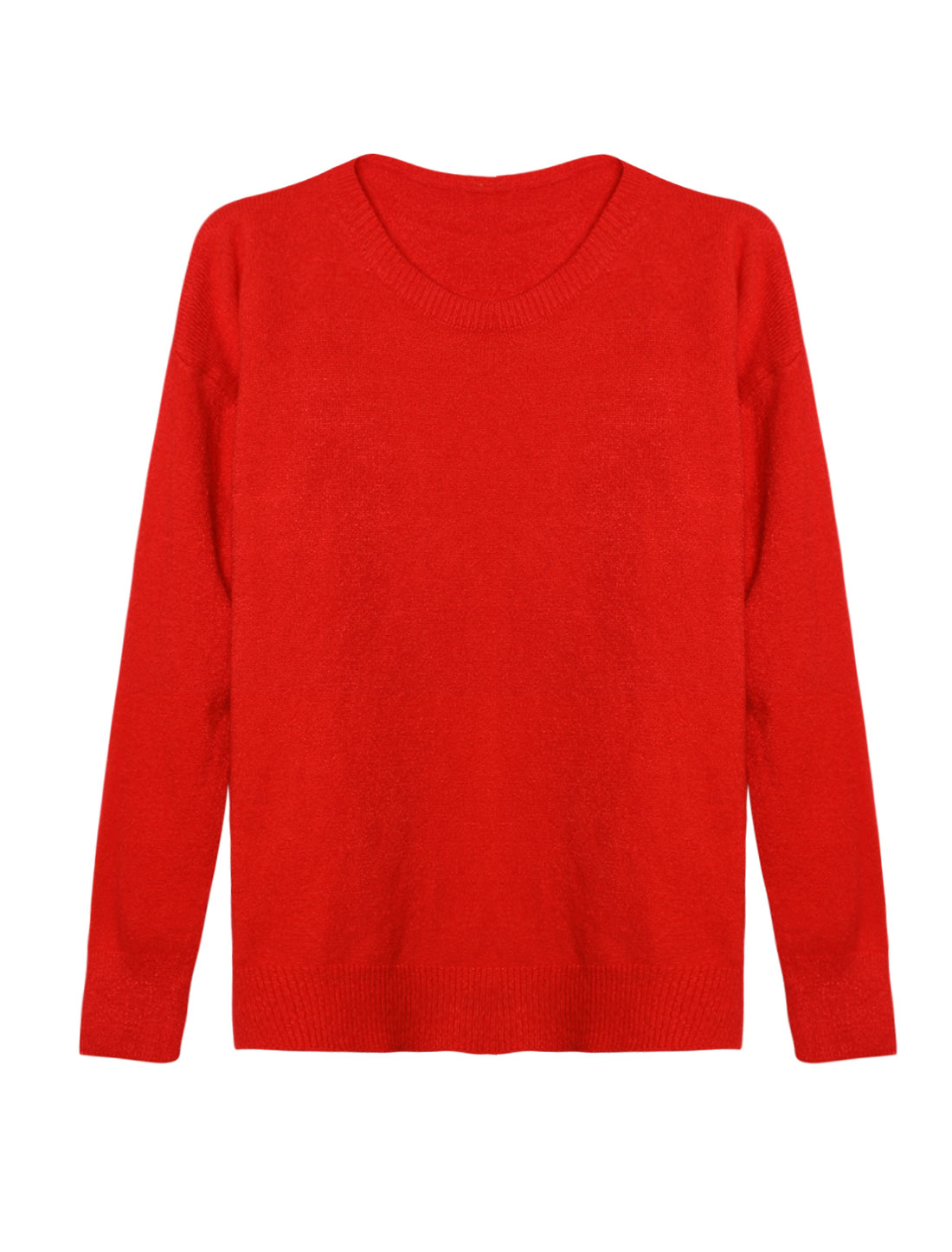 Woman Crew Neck Dolman Sleeves Ribbed Trim Knit Shirt Red XS