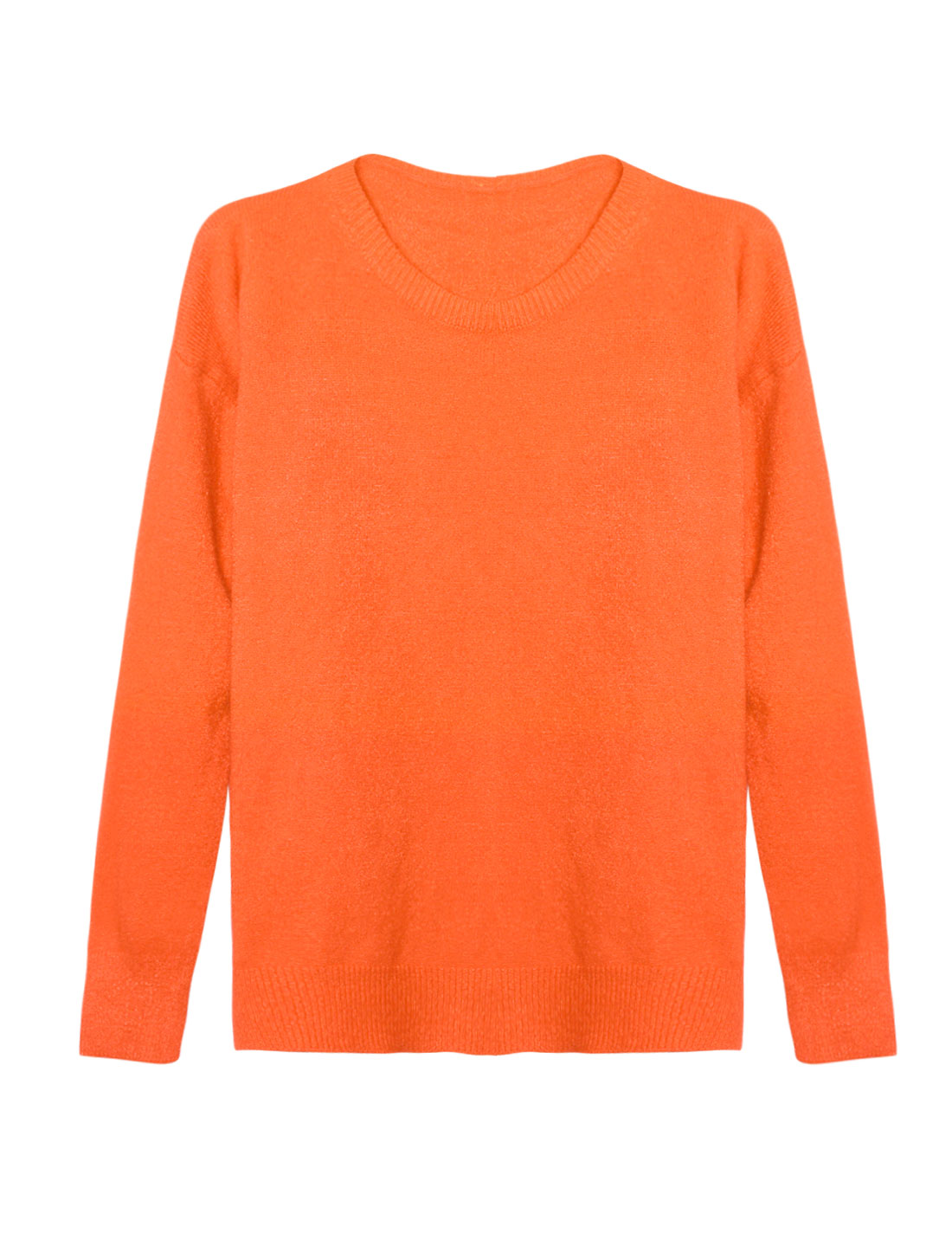 Woman Crew Neck Dolman Sleeves Ribbed Trim Knit Shirt Orange XS