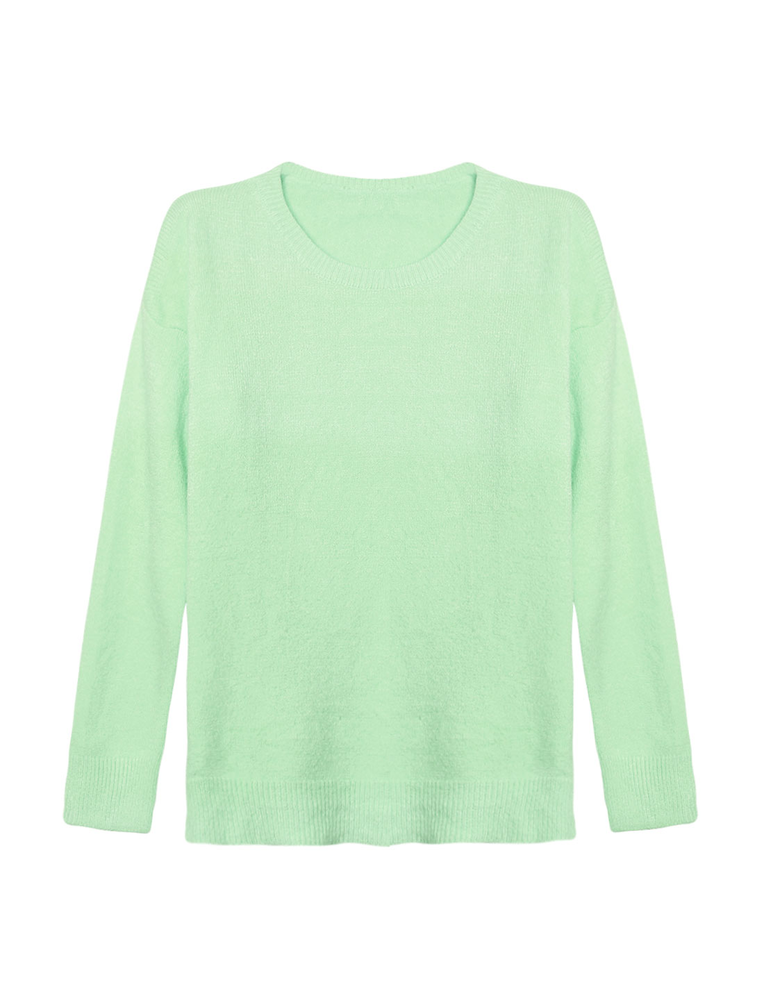Woman Crew Neck Dolman Sleeves Ribbed Trim Knit Shirt Green XS
