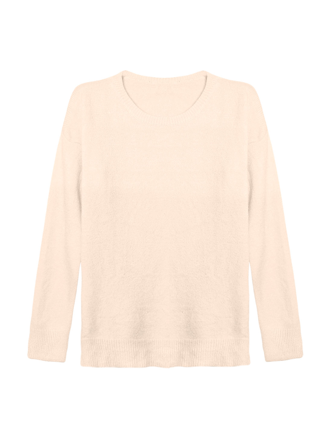Woman Crew Neck Dolman Sleeves Ribbed Trim Knit Shirt Beige XS