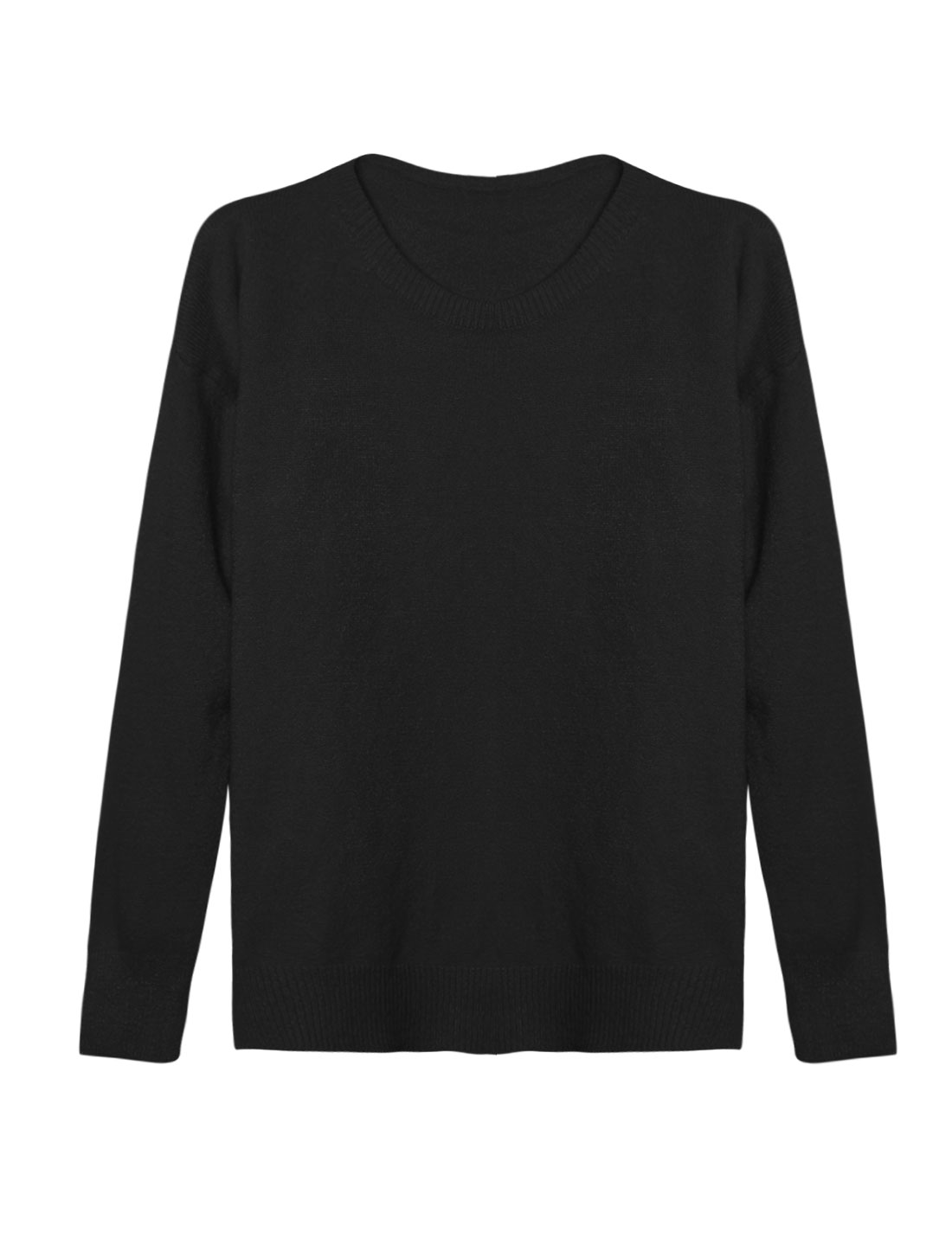 Woman Crew Neck Dolman Sleeves Ribbed Trim Knit Shirt Black XS