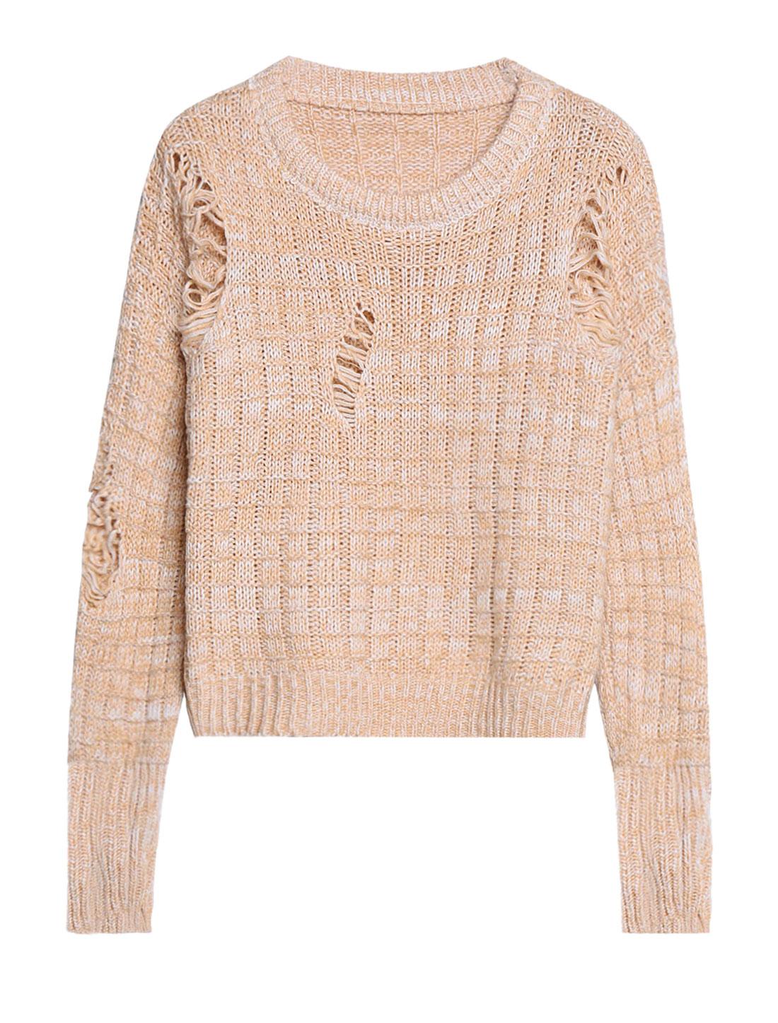 Woman Crew Neck Dolman Sleeves Distressed Sweater Beige XS