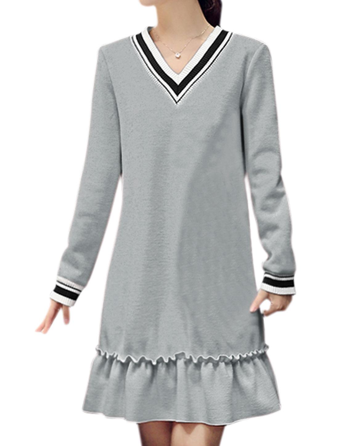 Woman V Neck Flouncing Hem Soft Lined Tunic Dress Gray XS