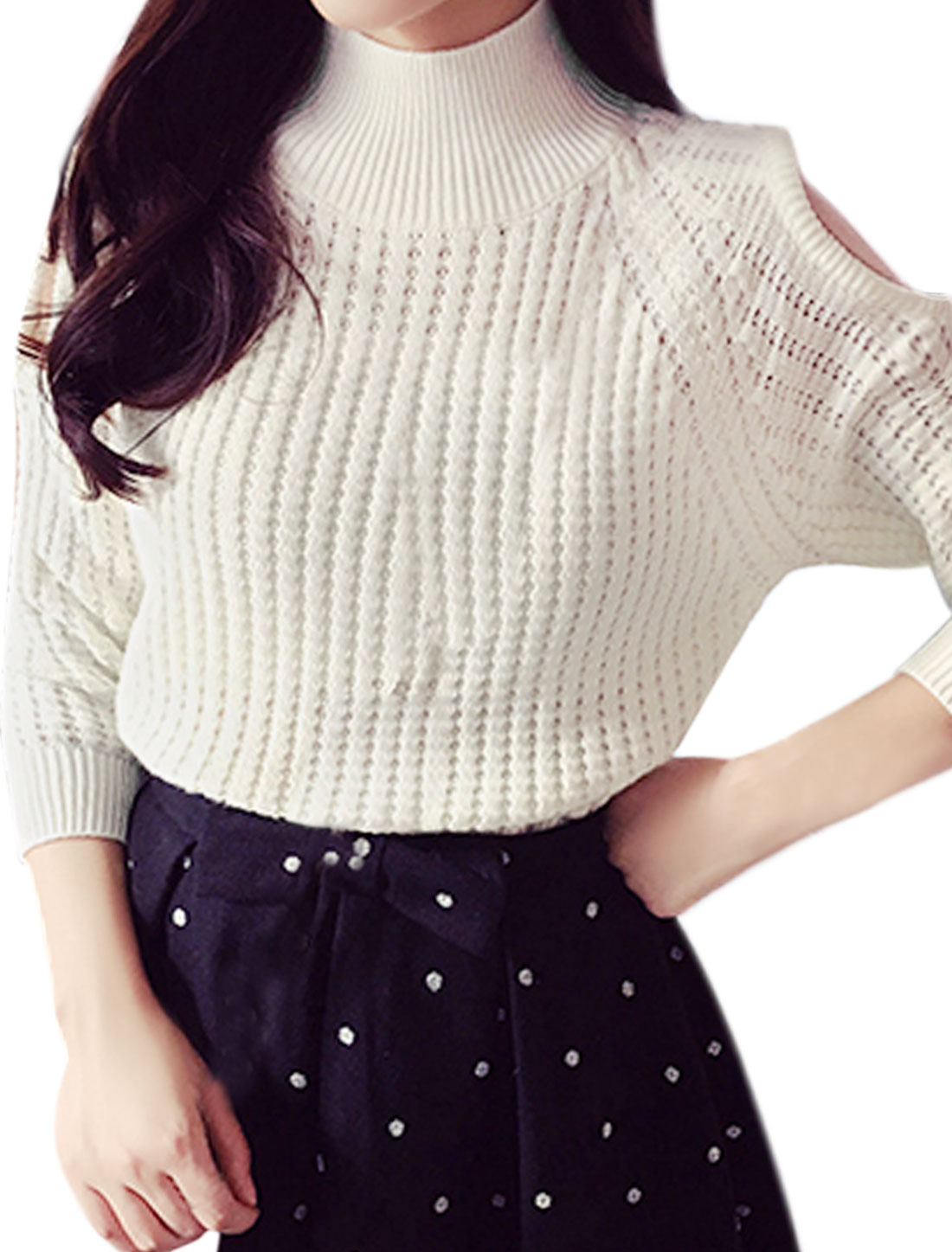 Woman Funnel Neck Raglan Sleeves Cut Out Shoulder Sweater White XS