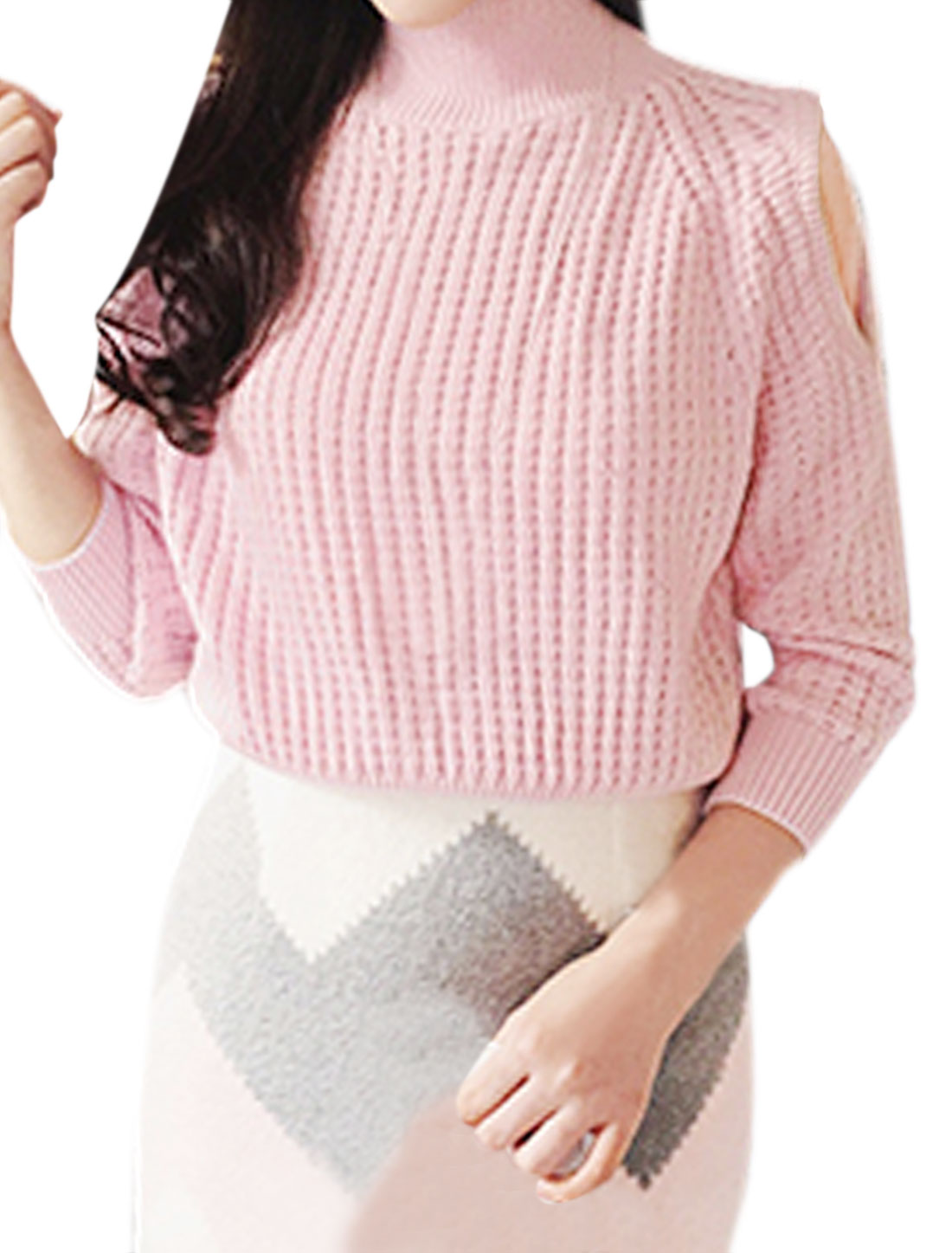 Woman Funnel Neck Raglan Sleeves Cut Out Shoulder Sweater Pink XS