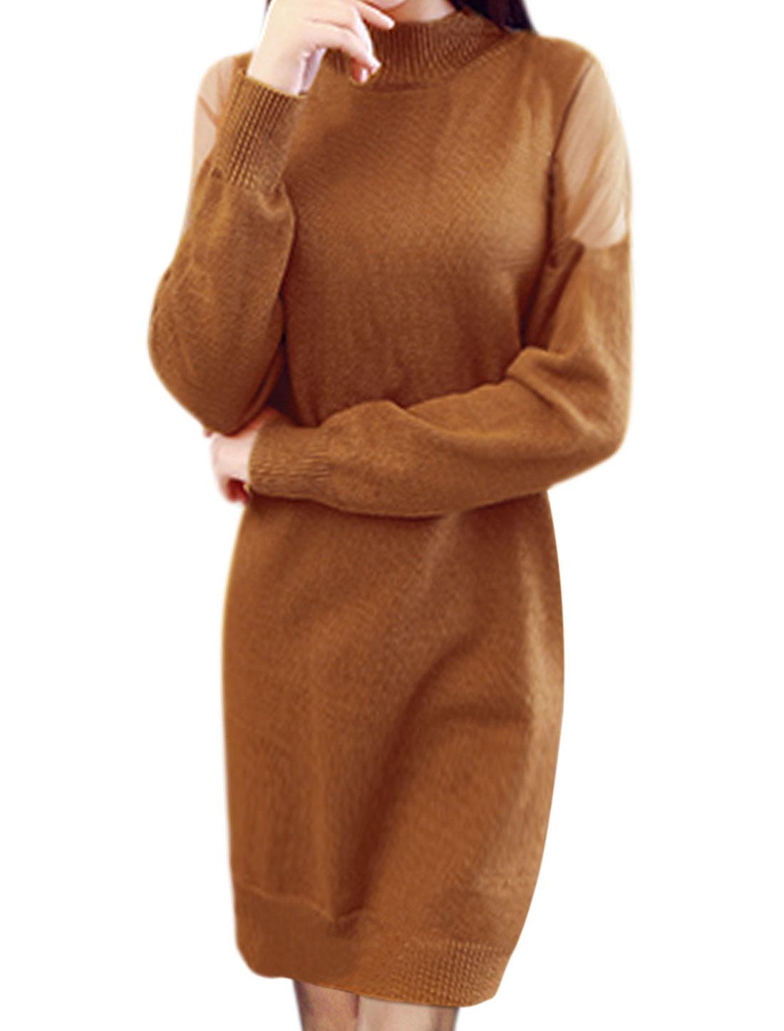 Ladies Mock Neck Mesh Panel Knitted Sheath Dress Brown XS