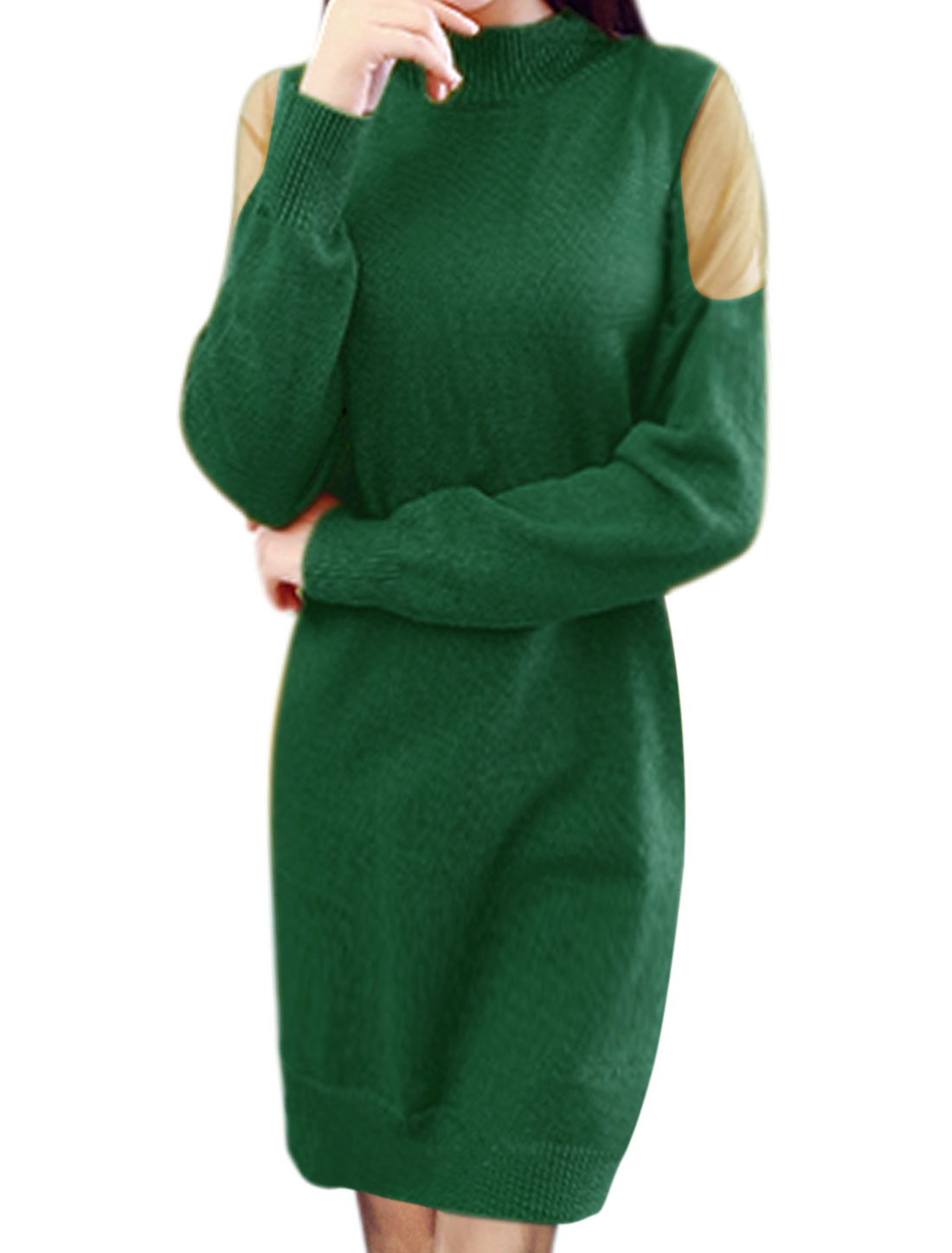 Ladies Mock Neck Mesh Panel Knitted Sheath Dress Green XS