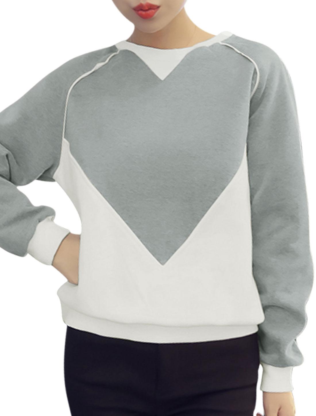 Women Heart Pattern Contrast Color Sweatshirt Gray XS