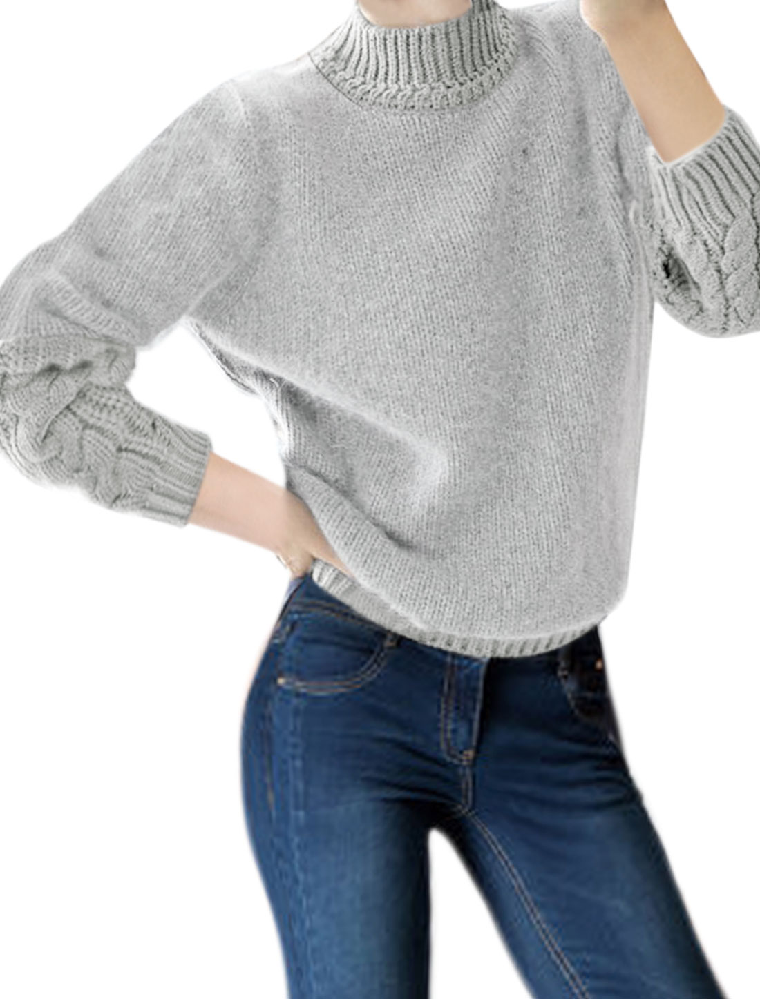 Ladies Mock Neck Cable Knit Design Plush Sweater Gray XS