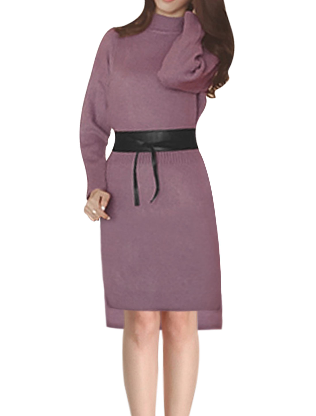 Ladies Mock Neck Hi-Lo Hem Knit Midi Dress w Belt Purple XS
