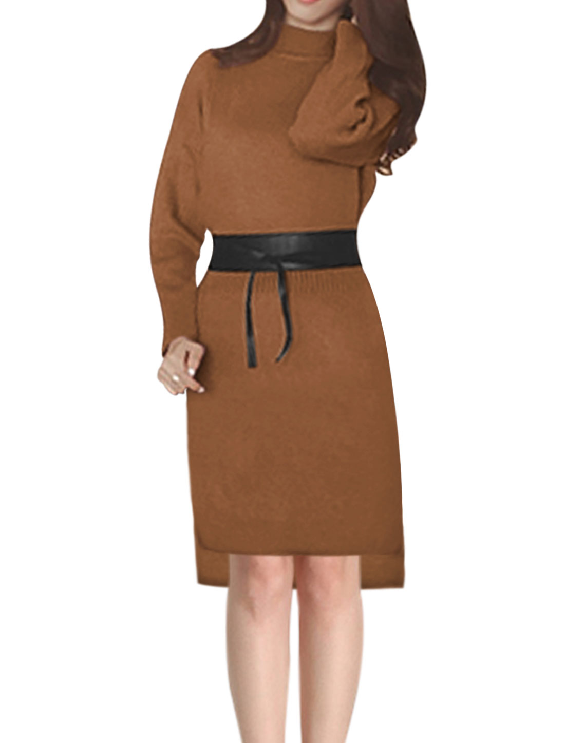 Ladies Mock Neck Hi-Lo Hem Knit Midi Dress w Belt Brown XS